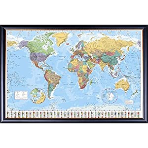 FRAMED GB Eye World Map Poster 24x36 Poster Dry Mounted in Executive Series Black Wood Frame With Gold Lip - Crafted in USA