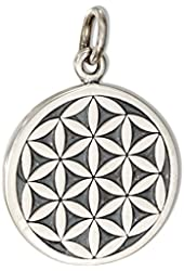 Sterling Silver Round Flower Of Life Charm