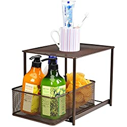 DESIGNA Its-Organized Stackable Sliding Basket and Drawer Organizer for Kitchen Cabinet, Bronze