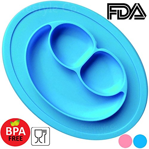 Baby Silicone Suction Placemat Plate - 3 Compartments Non-Slip Plates For Toddlers, Babies and Kids, BPA Free FDA Food Grade Material, Easy to Clean, Microwaveable, Dishwasher Safe (Blue)