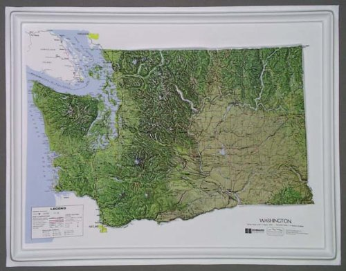 Intermediate Classroom Wall Maps - Washington Raised Relief Map NCR Style with Black Plastic Frame