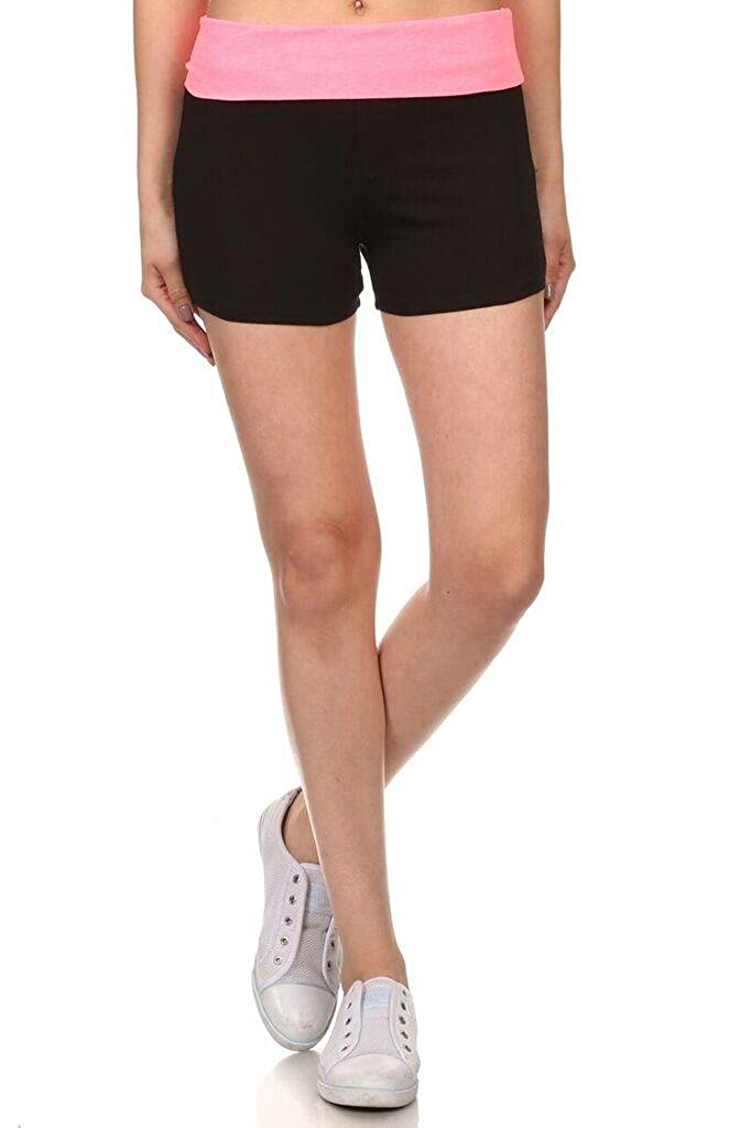 Simlu Womens Tie Dye Contrasting Fold Over Cropped Capri Leggings - Tie Dye Waistband Womens Yoga Shorts