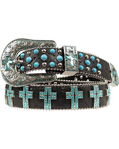 Blazin Roxx Women's Turquoise Cross Concho Belt Black Medium (Cross Concho Belts)