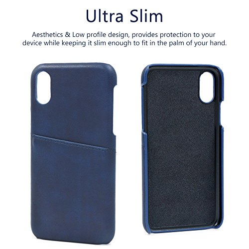 Buruis iPhone X Slim Card Case, Premium PU Leather Shockproof Wallet Case with Credit Card Slot Holder for Apple iPhone X (Blue) by Buruis (Image #3)