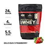 Optimum Nutrition (ON) Gold Standard 100% Whey Protein Powder – 1 lb, 454 g (Delicious Strawberry), Primary Source…