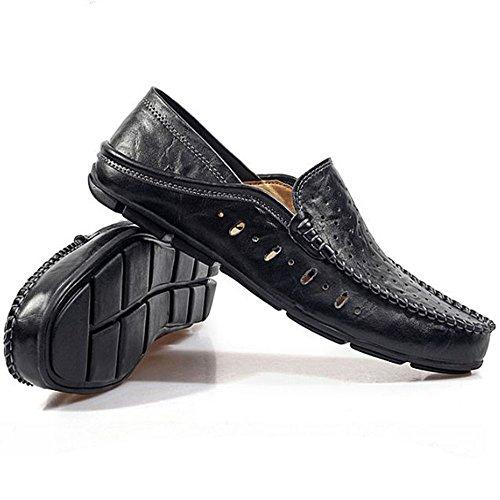 Cuero Casuales Verano Hombres Ahuecados De Fuera Hacia Zapatos Negro Del Los SaqOHO