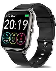 Smartwatch, fitness armbandsur spårare full pekskärm vattentät smart klocka med pulsmätare sömnmonitor stegräknare väderförutsägelse sportklocka för Android iOS damer