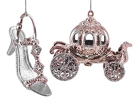 Princess Carriage with Slipper Hanging Christmas Ornament Set - Santa Christmas Ornament Shoes