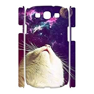 Galaxy Hipster Cat Custom 3D Cover Case for Samsung Galaxy S3 I9300,diy phone case ygtg551615