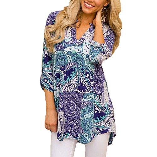 Jessica CC Women's Paisley Print Slight V Neck Tunic 3/4 Sleeve Blouse Shirt Tops, Style 5, X-Large (Sleeve V-neck Tunic Top)
