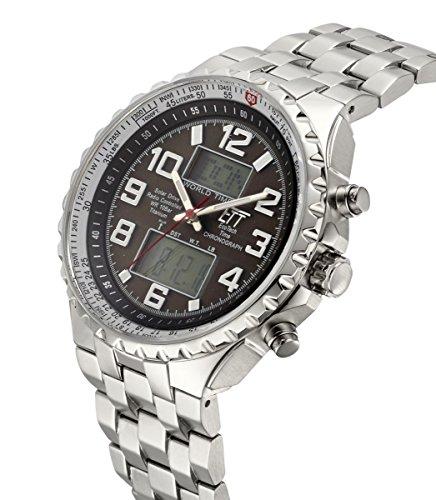 ETT Eco Tech Time Funk Solar Världstid herr klocka Kronograf med rostfritt stål armband EGS-11328-81M