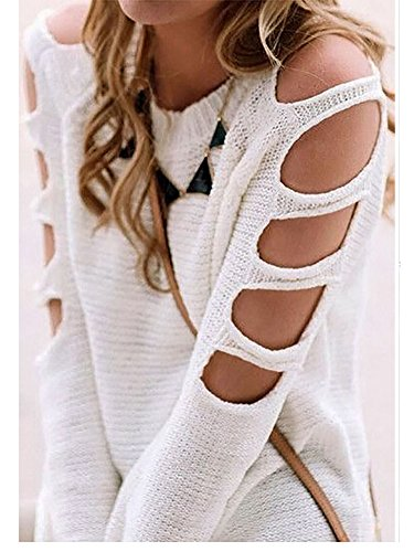 Locryz Women's Casual O-Neck Loose Cut Out Shoulder Knitting Sweater Tops