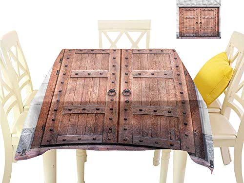 (WilliamsDecor Dining Table Cover Rustic,Antique French Wood Door Summer Table Cloths W 50