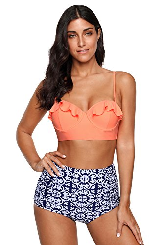 - Ruffle Vintage High Waist Bikini Set Orange Plaid Strappy Push Up Swimsuit OTPB2