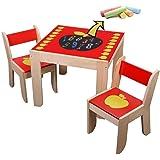 Labebe 子供用ウッドテーブルチェアセット 机椅子セット デスクスツールセット ブラックボード付き - レッドアップル