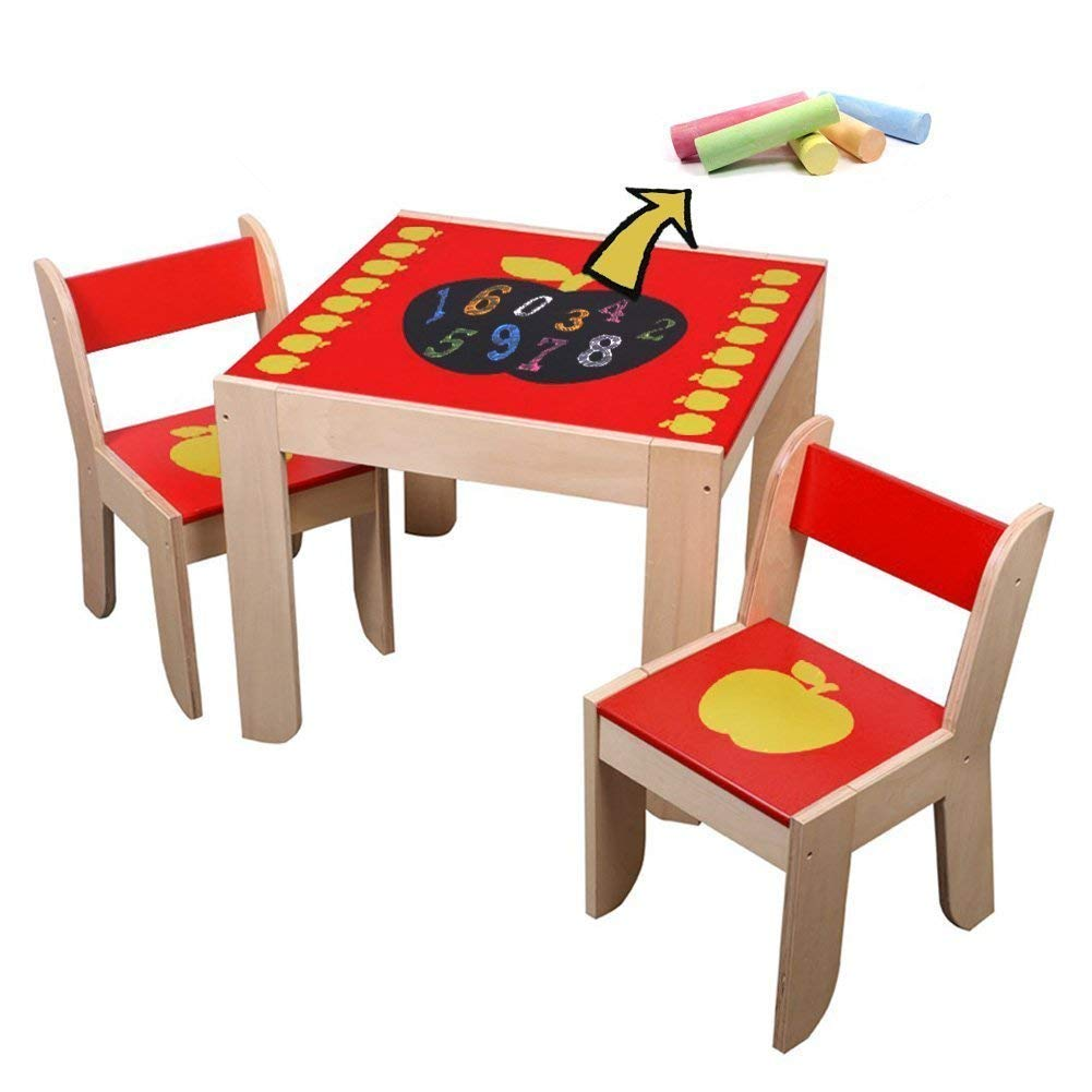 Labebe Wooden Activity Table Chair, Red Apple Toddler Table with Chalkboard for 1-5 Years, Learning Activity Table/Baby Play Table Toy/Baby Table/Infant Activity Table/Kid Dining Table/Kid Desk Chair by labebe