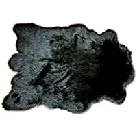 Fur Accents Black Sheep Area Rug Mountain Sheep Bear Skin Throw Rug Black 5x8