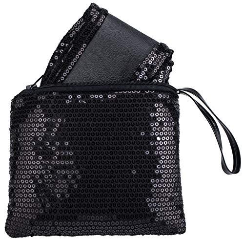 - Rolly Flats Portable Foldable Pumps Ballet Shoes (M, Black Sequin)