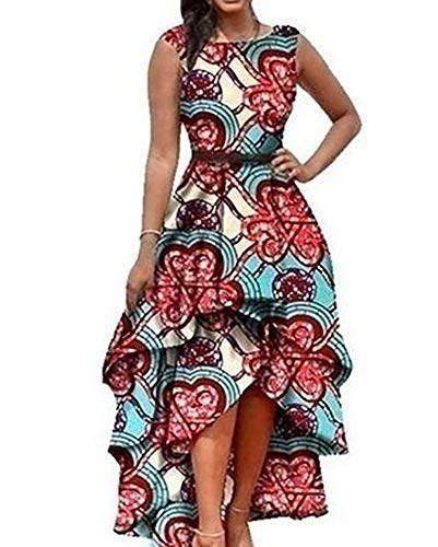 - Yeshire Womens African Print Sleeveless High Low Dashik Formal Prom Peplum Flare Midi Party Dress Medium Pink