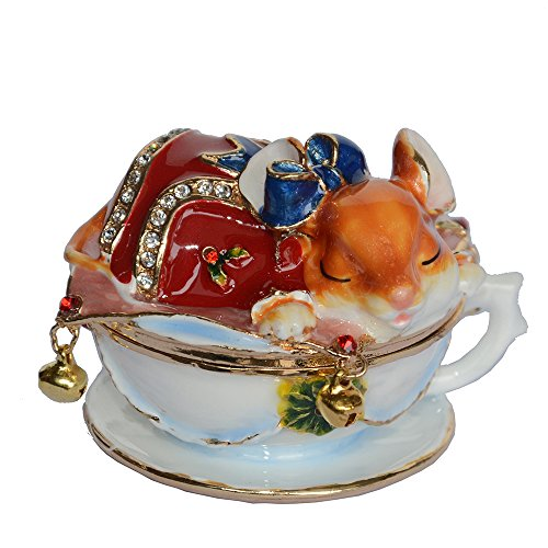 Enamelled Trinket Box (Mouse Enamelled Ring Trinket Jewelry Box Animal Collectible Christmas Gifts)
