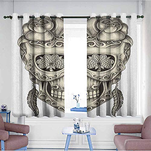 HOMEDD Doorway Curtains,Day of The Dead Spanish Sugar Skull with Roses Dragonfly Eyes Feather and Earrings Artwork,Great for Living Rooms & Bedrooms,W72x72L Grey Ivory