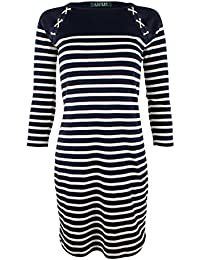 Lauren Ralph Lauren Women\u0027s Petite Lace Up Shoulder Striped Dress