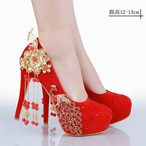 la novia de rojo Zapatos de de cristal novia diamantes JINGXINSTORE rojo de de zapatos boda zwf1fqO
