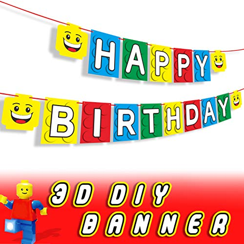 3D Building Block Happy Birthday Banner Party Decorations Perfect for Brick Themed Baby Shower Bunting Garland Decor Supplies (Top Tank God Party)