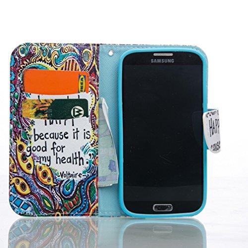 Funda Samsung Galaxy S4 OuDu Funda PU Cuero de Cartera para Samsung Galaxy S4 Carcasa Protectora Caso Suave Funda Blando Flip Wallet Case Cover Bumper Folio Holster Carcasa Patrón Original Funda Ultra Be Happy
