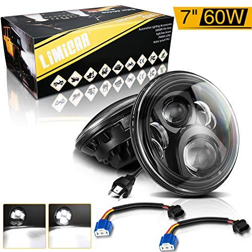 LIMICAR 7 Inch LED Headlights H6014 H6024 H6015 LED Headlight Bulbs Hi/Low Led Headlamps Chrome Semi-Sealed Beam 4x4 Off-Road 7