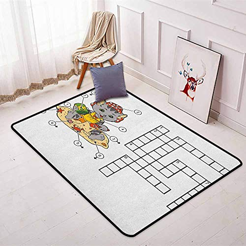 Word Search Puzzle Multifunctional Round Carpet Crossword Game for Children Cute Cat on Beach and Building Sand Castles for Bedroom Modern Home Decor W47.2 x L59 Inch Multicolor