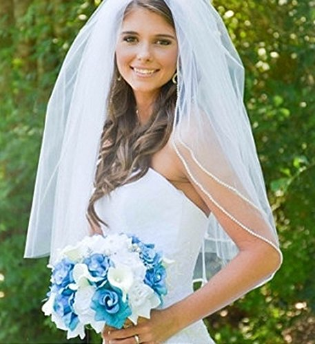 Large Bridal Bouquet - Malibu Turquoise White Silver Color by Angel Isabella