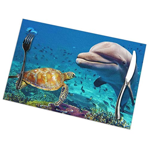 Pullan Eudora Sea Turtle and Dolphin Underwater World Placemats Set of 6 Stain-Resistant Anti-Skid Placemat Washable Table Mats 12x18 Inch