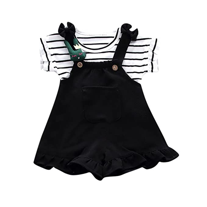 PAOLIAN Conjuntos para bebé niñas Camisetas + Tirantes de Pantalones Corta Verano 2018 Impresion de Rayas