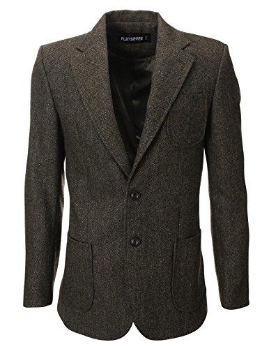FLATSEVEN Mens Herringbone Wool Blazer Jacket with Elbow Patches (BJ902) Khaki, S