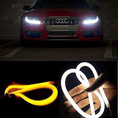 AGPtek Dual Color White-Amber Car Switchback LED Tube Strip Light Headlight DRL Daytime Running Light For Audi-Style Tube