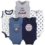 Hudson Baby 5 Pack Sleeveless Cotton Bodysuits, Baseball, 6-9 Months