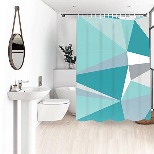 Wasserrhythm 72x72 Fashion Interior Design Polyester Shower Curtain for Bathroom Ice Blue and Aqua -