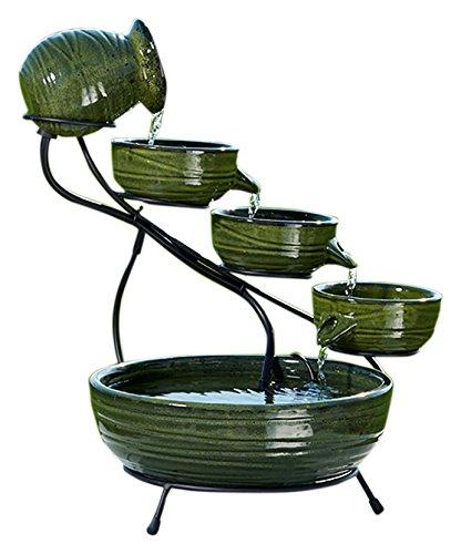 Solar Fountain (Smart Solar 23931R01 Ceramic Solar Cascading Fountain, Glazed Green Bamboo Design)