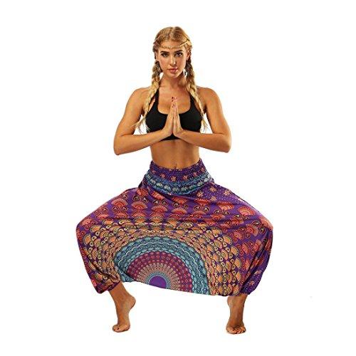 Violet Bloomers Combinaison Sarouel Coton Pantalon Longra t Pantalons Pantalon de Femmes Mode imprim Ornement Plage Yoga Dcontracte Pantalon Boho Bouffant de Pantalon Sarouel Femmes Y0gzYR