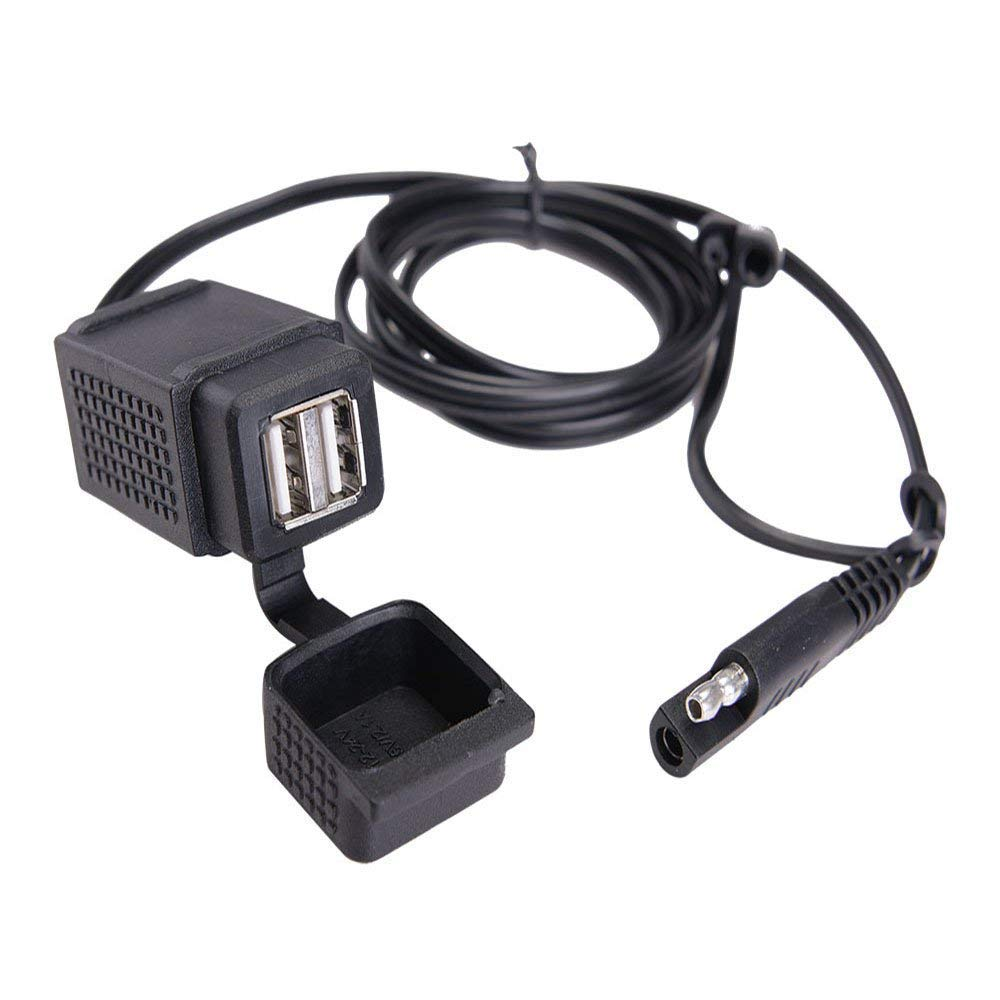 MNJ Motor SAE to USB Cable Adapter - 3.1A Dual Port Power Socket for Motorcycle for Smart Phone Tablet GPS