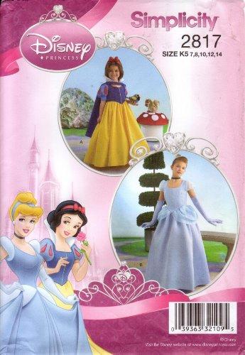 Simplicity Sewing Pattern 2817 Girls' Disney Princess Cinderella / Snow White Costume, Sizes 3-6 or 7-14