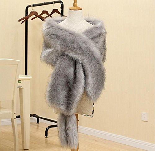 dad6acb4bdaf0 Amazon.com: Light Gray faux fur bridal wrap Black Tip, Wedding Fur ...