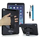 Apple iPad Mini 4 Shockproof Rugged Case with 360 Swivel Stand & Hand Strap(Black)