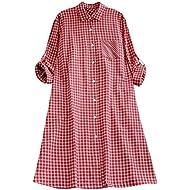 AMSKY ❤Women Boho Sundress Casual Plaid Plus Size Tunic Button Down Long Sleeve Pocket Shirt Dress