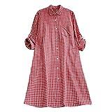Clearance ShenPr Women's Casual Plaid Tunic Button Down Roll-up Long Sleeve Pocket Shirt Dress