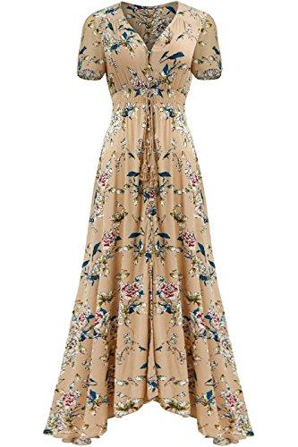 (Bon Rosy Women's Short Sleeve Front Slit Printed Bohemian Maxi Beach Dress Brown Pink S((ALD-7012))