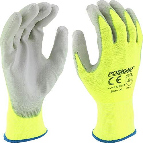 West Chester HVY713SUTS/M Touch Screen Gray PU Palm Coating, 13 Gauge Hi Vis Yellow Nylon Shell Touch Screen Tips (Pair of 12)