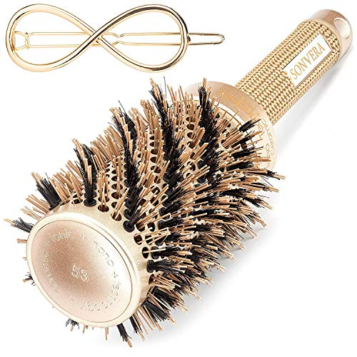 (Blow Dry Round Hair Brush With Natural Boar Bristle for Long and Short Hair Nano Thermal Ceramic Ionic Technology Blow Drying Brush for Hair Styling Curling Straightening Volume Shine)
