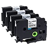 12Mm Label Printer - Label KINGDOM 4 Pack Compatible Brother P-touch TZ TZe TZe-231 TZ-231 Label Tape for PT-D210 PT-H100 PTD400AD PT-P700 PTD600 PT-1230PC Labeler, 12mm (1/2 Inch) x 8m (26.2 ft) Laminated, Black on White